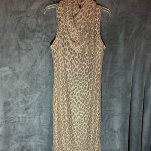 Gold and Black Lace Stretchy Dress Size 12
